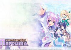 Hyperdimension Neptunia Wallpaper 015 – Neptune, Noire, Blanc & Vert