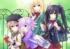 MegaTagmension Blanc + Neptune vs Zombies Wallpaper 012 – The Goddesses Go to School