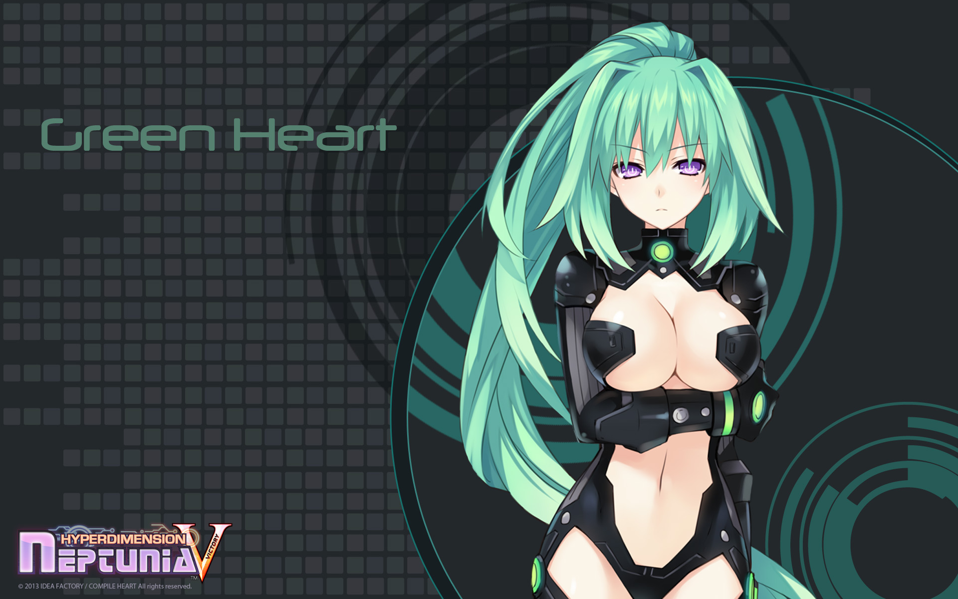 Hyperdimension Neptunia Victory Wallpaper 008 Green Heart Vert